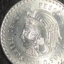 Moneda 5 Pesos Cuauhtemoc 1948 Plata Cuahutemoc