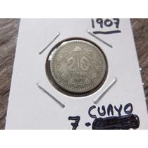 Monedas 20 Centavos 1907 Con 7 Curvo Ley .800 Cospel Grande