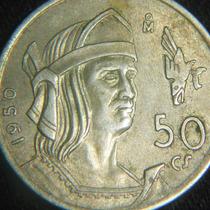 Moneda 50 Cincuenta Centavos Cuauhtemoc 1950 Aguila Que Cae