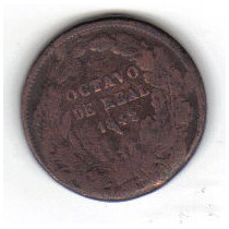 Octavo De Real 1842 Moneda De Antonio López De Santa Ana