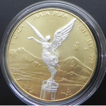 Medalla Onza Color Oro Angel Plata Edicion Limitada 2014
