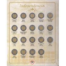 Album Con 37 Monedas De 5 Pesos Revolución E Independencia