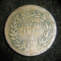 Moneda Un Centavo 1874 Mexico Fecha Baja Republica Juarista