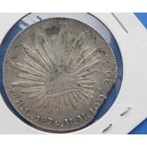 Moneda Mexico 8 R Chihuahua 1874 Mm Final De Riel Gran Error