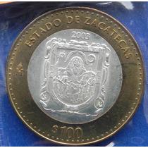 Moneda De Los Estados 100 Pesos Zacatecas 2003 Sin Circular