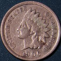 Un Centavo 1906 Eeuu Cabeza Indio Cobre Rara Buen Estado Ipw