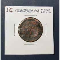 Moneda 1 Centavo Monograma Del Año 1892 Republica Mexicana