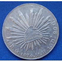 Moneda 8 Reales Mexico 1874 M H Excelente