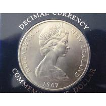 Moneda Dollar Nueva Zelanda (decimal) 1967 1er. Día Op4
