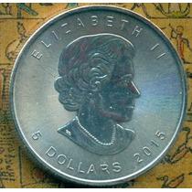 5 Dolares De Canada 2015 1 Oz Plata Ley .9999