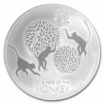 Niue, Nueva Zelanda 2016 Año Del Mono 1 Onza Plata Pura .999