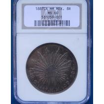 Moneda México 8 Reales 1887 M Chihuahua Ms 60 Certificada
