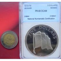 Medalla Bahamas 5 Dolar Proof Pr-69 Plata