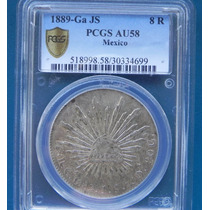 Moneda México 8 Reales Guadalajara 1889 Js Pcgs Au58