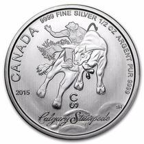Moneda Plata Toro Jinete Rodeo 1/2 Onza De Plata