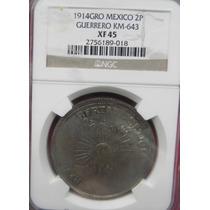 Moneda México $2 Pesos Guerrero Revolución Año 1914 Nueva