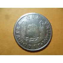 Antigua Moneda Columnaria 2 R. 1755, Fernando V I. Plata.