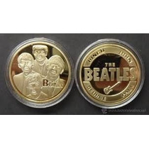 Moneda Conmemorativa The Beatlels Gold Plated Coins 32.6mm*3