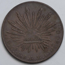 Aaaa 1889 8 Reales Cn Rara Moneda Mexicana Peso Au Plata Cf6