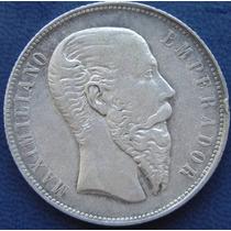 Moneda 50 Cent 1866 Mexico Maximiliano Plata Original