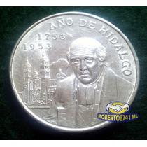 Moneda De Plata Cinco 5 Pesos, 1953 Año De Hidalgo