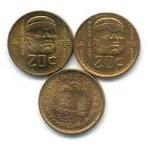 Monedas De 20 Centavos, 1983 Y 1984, Cultura Olmeca