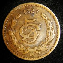 Moneda 5 Centavos 1927 Monograma Cobre Bronce Fecha Clave