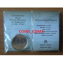 Moneda 20 Pesos Veracruz Gesta Heroica Empaque Banxico Nueva