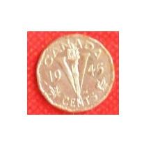 5 Centavos 1945 Canadá Rey Jorge Vl Antorcha La Victoria Vbf
