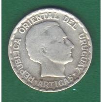50 Centavos 1943 Plata Uruguay Jose Gervasio Artigas - Hm4