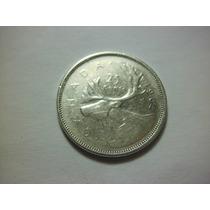Canada 25 Centavos Fecha 1965 Plata Ley 0.800 5.8g 24mm
