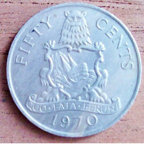 50 Centavos 1970 Bermudas Territorio Británico Ultramar Vbf