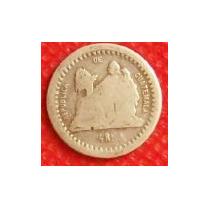 1/2 Real 1879 Plata Antigua Moneda República Guatemala - Vbf