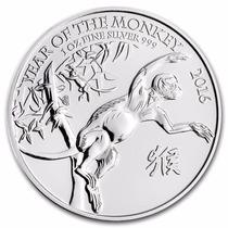 Gran Bretaña, 2016 Año Del Mono 1 Onza Plata Pura .999