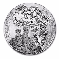Ruanda, 50 Francos 2016 Suricato Africano 1 Oz. Plata Pura