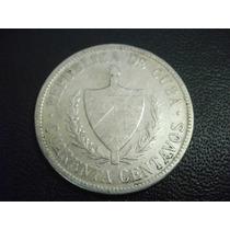 Cuba 40 Centavos Fecha 1915 Plata Ley 900