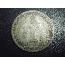 Guatemala 1/4 De Quetzal Fecha 1926 Plata Ley .720