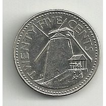 Moneda Barbados 25 Cents (1987) Molino De Viento