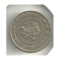 Moneda Singapur 10 Cents (1991) Flores