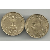 Moneda Mahatma Gandhi India 20 Paise (1969)