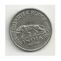 Moneda La India 1/4 De Rupia (1946) Tigre, Rey Jorge Sexto