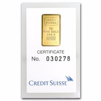 Crédito Suizo 2 Gramos Oro Puro .9999 Con Certificado.