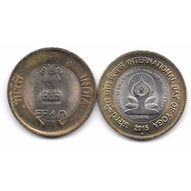 Moneda Dia Del Yoga (2015) India 10 Rupias Bimetalica