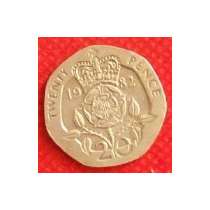 20 Peniques 1982 Gran Bretaña Rosa Coronada Reina Isabel Hm4