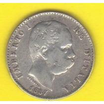 1 Lira 1887 Plata Italia Moneda Rey Humberto I De Saboya Hm4