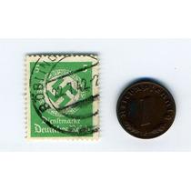 Moneda 1 Pfennig Alemania Nazi 1938 Timbre De Swastika