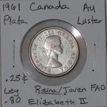 Aaaa 1961 Dolar Reina Elizabeth Alse Canada 25c Plata 80 Fad