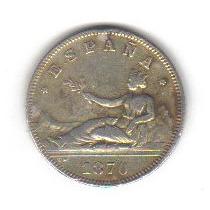 2 Pesetas 1870 Plata Moneda Reino De España - Hm4