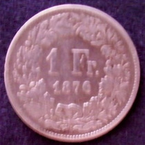 1 Franco 1876 Plata Suiza Berna Helvetia Con Lanza - Hm4
