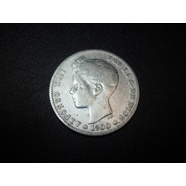 España 1 Peseta Alfonso Xiii Fecha 1900 Plata Ley 0.900